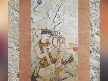 D'après une scène poétique, Shah Abbas Ier et un page, par Muhammad Quasim, 1627 apjc, dessin, gouache, or et argent, Ispahan, Iran,art Musulman. (Marsailly/Blogostelle)