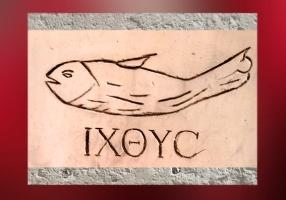 D'après une image de ichtus, basilique des catacombes de Domitille, fin IIe-IIIe siècle, Rome, art paléochrétien. (Marsailly/Blogostelle)