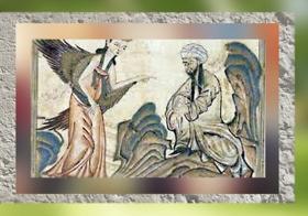 D'après Mahomet et Gabriel, Jami' al-Tawarikh (Histoire du Monde), de Rashid al-Din, 1307 apjc, Tabriz, Iran. (Marsailly/Blogostelle.)