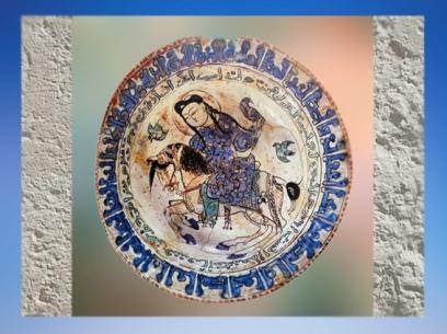 D'après une coupe au cavalier et faucon, céramique dorée et lustrée, fin XIIe-début XIIIe, Iran. (Marsailly/Blogostelle.)