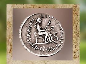 D'après la déesse romaine des Moissons, Cérès, sur un denier romain, 56 avjc. (Marsailly/Blogostelle.)
