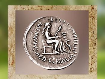 D'après la déesse romaine des Moissons, Cérès, sur un denier romain, 56 avjc. (Marsailly/Blogostelle)