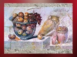 D'après les fruits de l'abondance, fresque, maison de Julia Felix, Pompéi, Ier siècle apjc, Naples. (Marsailly/Blogostelle)
