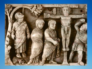 D'après la première image de Crucifixion connue, coffret en ivoire, vers 420-430 apjc, art Chrétien. (Marsailly/Blogostelle)