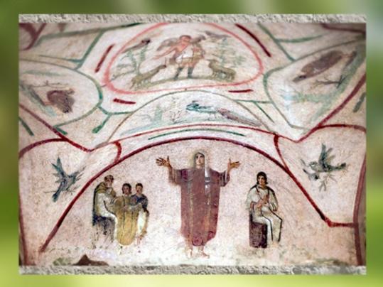 D'après le Bon Pasteur et scène chrétienne, catacombe de Priscille, nécropole fin IIe-IVe siècle apjc, Rome, art paléochrétien. (Marsailly/Blogostelle)