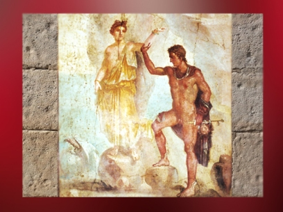 D'après Persée et Adromède, villa de Julia Félix, fresque Ier siècle apjc, Naples. (Marsailly/Blogostelle)