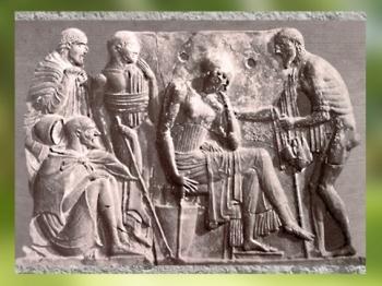 D'après un relief de Milo, la fidèle Pénélope... terre cuite moulée, vers 470- 430 avjc, Art Grec. (Marsailly/Blogostelle.)