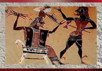 D'après une céramique, Athéna naît du cerveau de son père Zeus, grâce à la hache d'Héphaistos, art Grec. (Marsailly/Blogostelle.)
