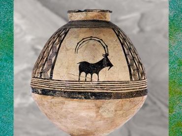 D'après une jarre, terre cuite, bouquetin stylisé, IVe millénaire avjc, Levant néolithique. (Marsailly/Blogostelle)