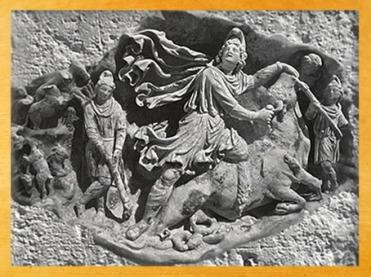D'après Mithra tauroctone dans une grotte, relief, vers IIe siècle apjc, Vienne, Autriche, époque romaine. (Marsailly/Blogostelle)