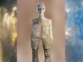 D'après la statue d'Aïn Ghazal, 9000 ans avjc, Jordanie, Levant. (Marsailly/Blogostelle.)