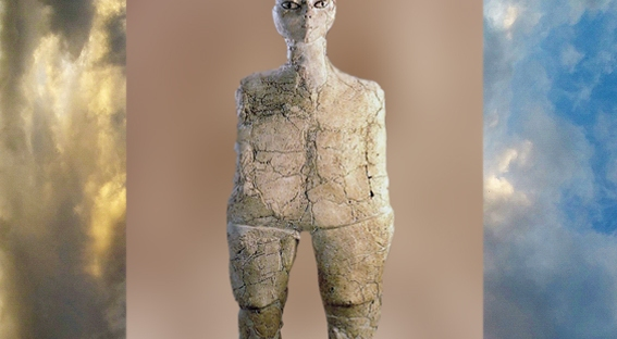 D'après la statue d'Aïn Ghazal, vers 9000 ans avjc, Jordanie,Levant néolithique. (Marsailly/Blogostelle)