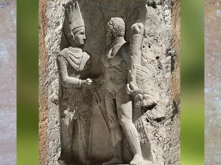 D'après Antiochos Ier de Commagène et Hercule, relief, Ier siècle avjc, Mont Nemrut, Turquie, époque Romaine. (Marsailly/Blogostelle)