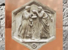 D'après Platon et Aristote, sculptés par Luca della Robbia, vers 1437-1439 apjc, marbre campanile de Florence. (Marsailly/Blogostelle.)
