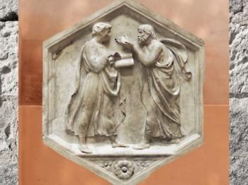 D'après les portraits de Platon et Aristote, sculptés par Luca della Robbia, vers 1437-1439 apjc, marbre campanile de Florence. (Marsailly/Blogostelle)