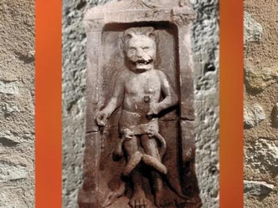 D'après un autel de Mithra, à tête de lion, mithraeum de Bordeaux, IIIe siècle apjc, Gironde, France, Gaule Romaine. (Marsailly/Blogostelle)