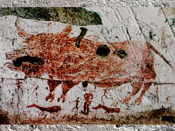 D'après un décor peint, habitation, Taureau et scène de Chasse, VIe millénaire avjc, Çatal Hüyük, Anatolie, Levant néolithique. (Marsailly/Blogostelle)