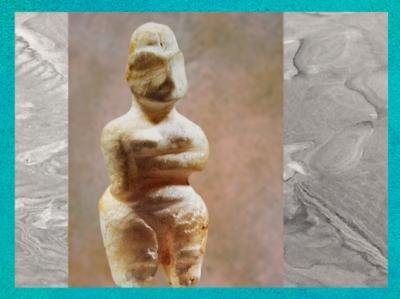 D'après une figurine en albâtre, et incrustation bitume, vers 5800-5500 avjc, Bagdad, Irak, Mésopotamie néolithique. (Marsailly/Blogostelle)
