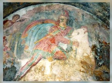 D'après Mithra, Tauroctone, Sol et le Corbeau, IIe siècle apjc, Mithraeum de Capoue, art Romain, Italie, époque Romaine. (Marsailly/Blogostelle)
