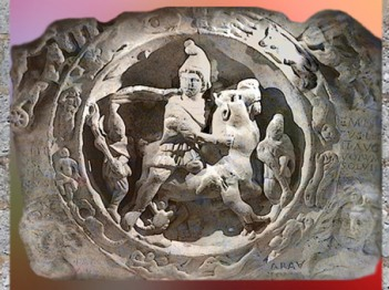 D'après le Sacrifice de Mithra, au centre de la ronde du zodiaque, Londres, Angleterre, époque Romaine. (Marsailly/Blogostelle)