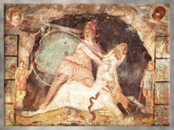 D'après Mithra et sa cape étoilée, fresque, IIe- IIIe siècle apjc, mithraeum de Marino, Italie, époque Romaine. (Marsailly/Blogostelle)