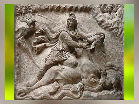 D'après Mithra tauroctone (tuant le taureau), relief mithriaque, IIe-IIIe siècle apjc, Fiano Romano, Italie, époque Romaine. (Marsailly/Blogostelle)