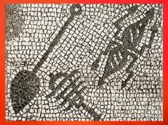 D'après les degrés initiatiques du culte de Mithra : Bêche, Sistre, et Éclair, mosaïque, mithraeum d'Ostie, Italie, époque romaine. (Marsailly/Blogostelle)