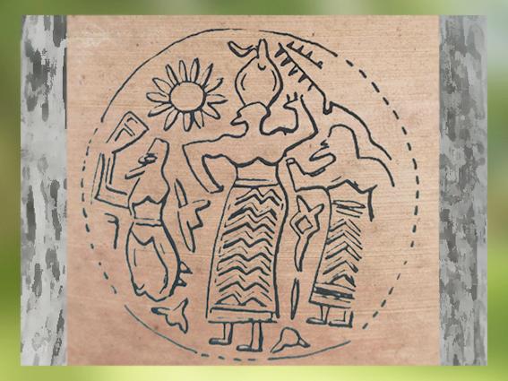 D'après une scène cultuelle, glyptique, vers 3800 avjc, Suse, Iran, Suse, Iran, néolithique, Orient ancien. (Marsailly/Blogostelle)