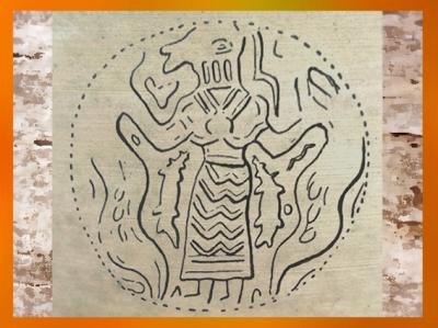D'après le thème du Maître des Animaux, glyptique, vers 3800 avjc, Suse, Iran, néolithique, Orient ancien. (Marsailly/Blogostelle)