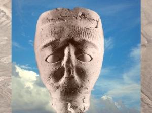 D'après une tête modelée, chaux et roseaux, VIIe millénaire avjc, Jéricho, Palestine, Levant néolithique. (Marsailly/Blogostelle)