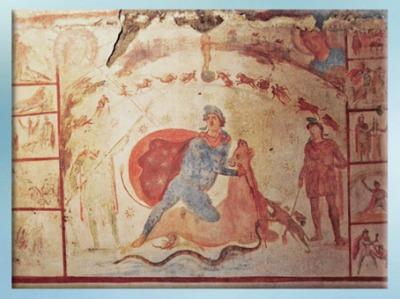 D'après le sacrifice de Mithra, fresque, IIe siècle apjc, Rome, Palais Barberini,époque romaine. (Marsailly/Blogostelle)