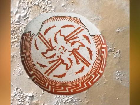 D'après une coupe à décor tournoyant, terre cuite, Samarra, vers 5000 avjc, Tell es-Sawwan, Irak actuel, Mésopotamie néolithique. (Marsailly/Blogostelle)