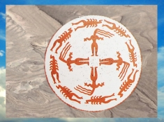 D'après une coupe à silhouettes et chevelures, terre cuite, Samarra, vers 5000 avjc, Tell es-Sawwan, Irak actuel, Mésopotamie. (Marsailly/Blogostelle)