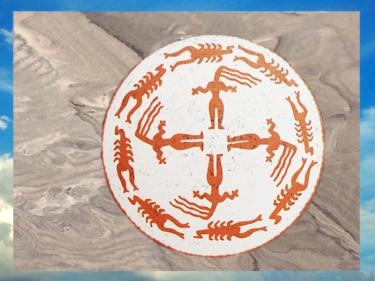 D'après une coupe, silhouettes à longueschevelures, terre cuite peinte, Samarra, vers 5000 avjc, Tell es-Sawwan, Irak actuel, Mésopotamie néolithique. (Marsailly/Blogostelle)