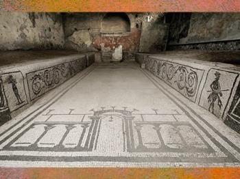 D'après l'un des sanctuaires de Mithra et ses mosaïques, mithraeum d'Ostie, Italie, époque Romaine. (Marsailly/Blogostelle)