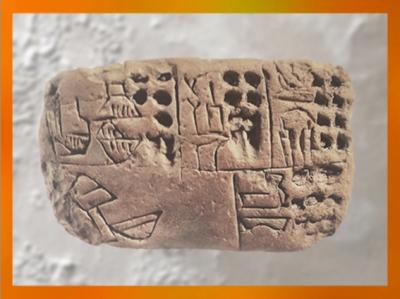 D'aprèsdes pictogrammes incisés au calame dans la terre crue, vers 3300 avjc, Mésopotamie. (Marsailly/Blogostelle)