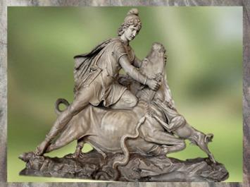 D'après Mithra qui immole le Taureau, marbre blanc, restauré par Pacetti et Franzoni au XVIIIe siècle, Vatican, (Marsailly/Blogostelle)