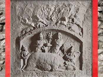 D'après la face du Banquet de Mithra, relief pivotant de Heddernheim, Allemagne, époque romaine. (Marsailly/Blogostelle)