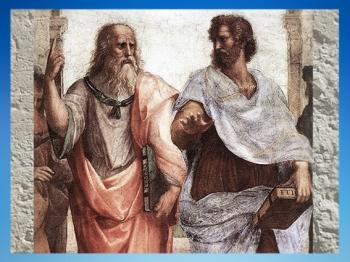 D'après Platon et ses Idées, et Aristote l'observateur de la Nature, détail de l'Ecole d'Athène, de Raphaël, 1509 apjc, Vatican. (Marsailly/Blogostelle)