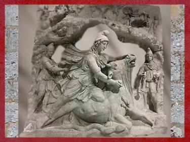 D'après Mithra qui immole le Taureau, IIe siècle apjc (collection Borghèse, Louvre),époque romaine. (Marsailly/Blogostelle)