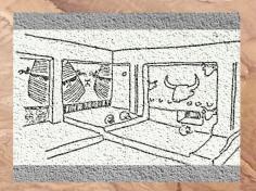 D'après l'espace intérieur d'une maison-sanctuaire, bucrânes, VIe millénaire avjc, Çatal Höyük, Anatolie (Turquie), Levant Néolithique. (Marsailly/Blogostelle)