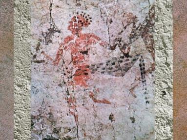 D'après un chasseur à peau de léopard, peinture, VIe millénaire avjc, Çatal Hüyük, Anatolie Levant Néolithique. (Marsailly/Blogostelle)