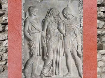 D'après les Adieux d'Orphée à Eurydice, que le dieu Hermès ramène aux Enfers, relief, Ve-IVe siècle avjc, Grèce antique. (Marsailly/Blogostelle)