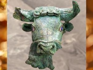 D'après une tête de Taureau, bronze et lapis-lazuli, vers 2700 avjc, période des dynasties archaïques sumériennes, Mésopotamie.(Marsailly/Blogostelle)