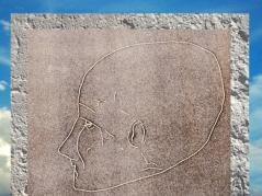 D'après le dessin d'un crâne surmodelé, Jéricho, époque néolithique, Levant Néolithique. (Marsailly/Blogostelle)