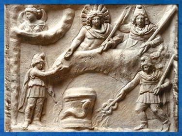 D'après Le Banquet de Mithra, marbre, relief mithriaque, IIe-IIIe siècle apjc, Fiano Romano, Italie, époque Romaine. (Marsailly/Blogostelle)