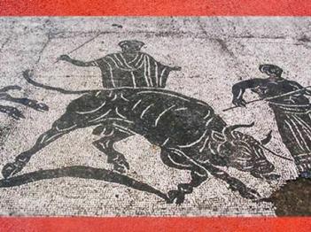 D'après des scènes de sacrifice du Taureau, mosaïque, caserne des Vigiles du Feu, Ostie, Ier-IIIe siècle apjc,époque romaine. (Marsailly/Blogostelle)