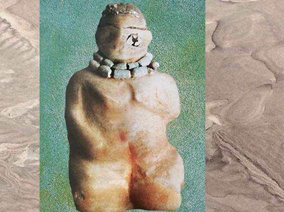 D'après une statuette féminine parée d'un collier, albâtre, vers 5800 avjc, nécropole de Samarra, Tell es-Sawwan, Mésopotamie. (Marsailly/Blogostelle)