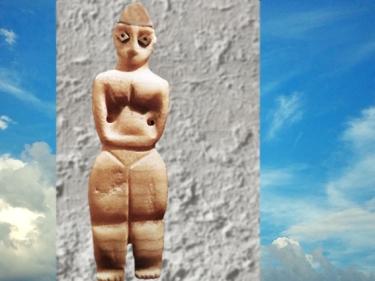 D'aprèsune figure féminine, albâtre et bitume, vers 5800-5500 avjc, nécropole de Samarra, Tell es-Sawwan,Mésopotamie néolithique. (Marsailly/Blogostelle)