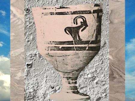 D'après une coupe à pied, céramique peinte à bouquetins, vers 3500 ans avjc, Suse, Iran actuel, période néolithique, Orient ancien. (Marsailly/Blogostelle)